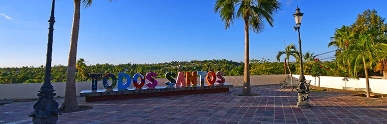 Colorful Todos Santos sign at downtown